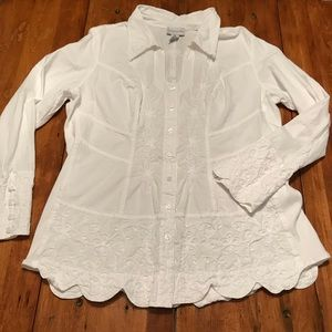 Soft Surroundings White Floral Button Down